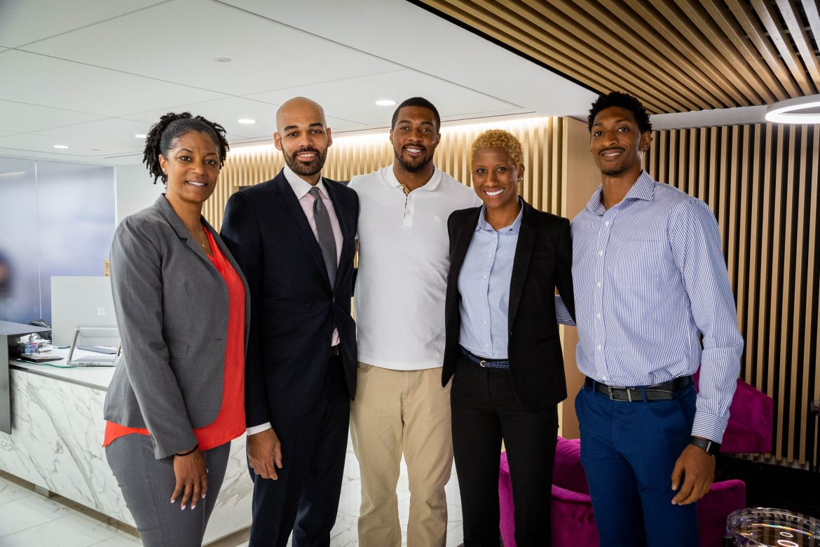 The NBA Career Crossover group met with the Douglas Elliman Sports & Entertainment Division, including Jonathan Aka (second from left), a former basketball professional who has successfully transitioned into a real estate career with Elliman.