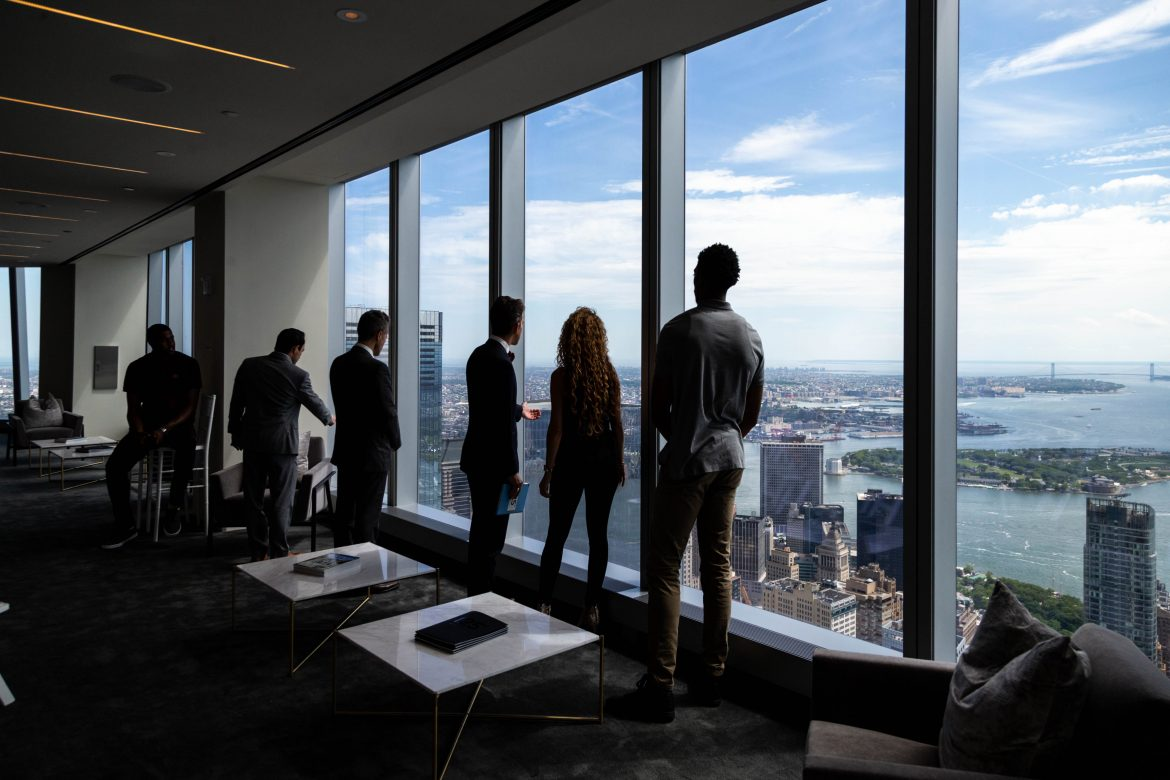 Agents Tom Postilio and Mickey Conlon provided a tour of the sales gallery for 125 Greenwich Street, located on the 84th floor of the One World Trade Center.