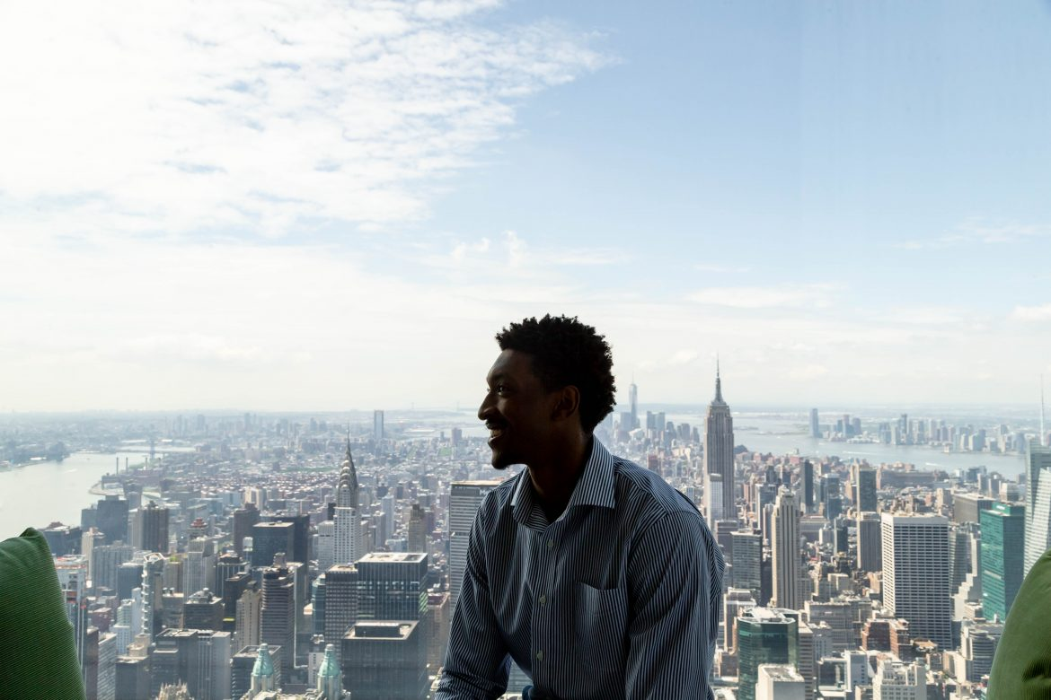 Malcolm Miller overlooks Manhattan from the 84th floor of 432 Park Avenue.