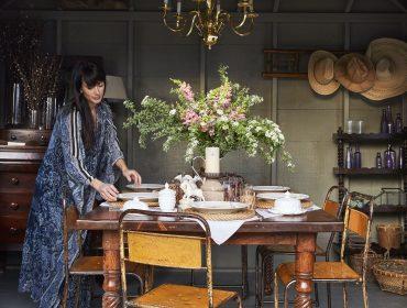 Interior designer Elizabeth Georgantas in a shed that she decorated.